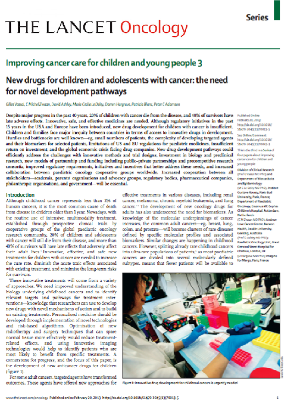February 2013 - New drugs for children and adolescents with cancer : the need for novel development pathways