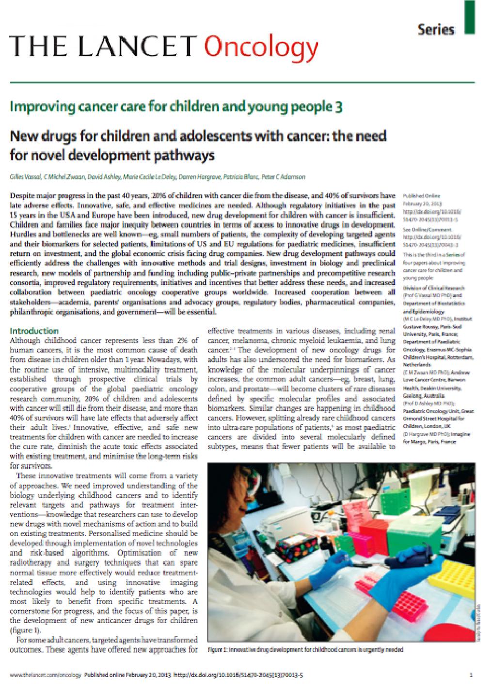 Février 2013 - Nouveaux médicaments pour les enfants et les adolescents atteints de cancer : la nécessité de nouveaux axes de développement