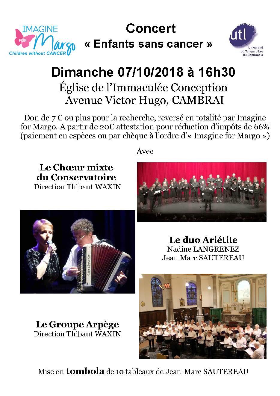 concert Enfants sans Cancer au profit d'Imagine for Margo à Cambrai