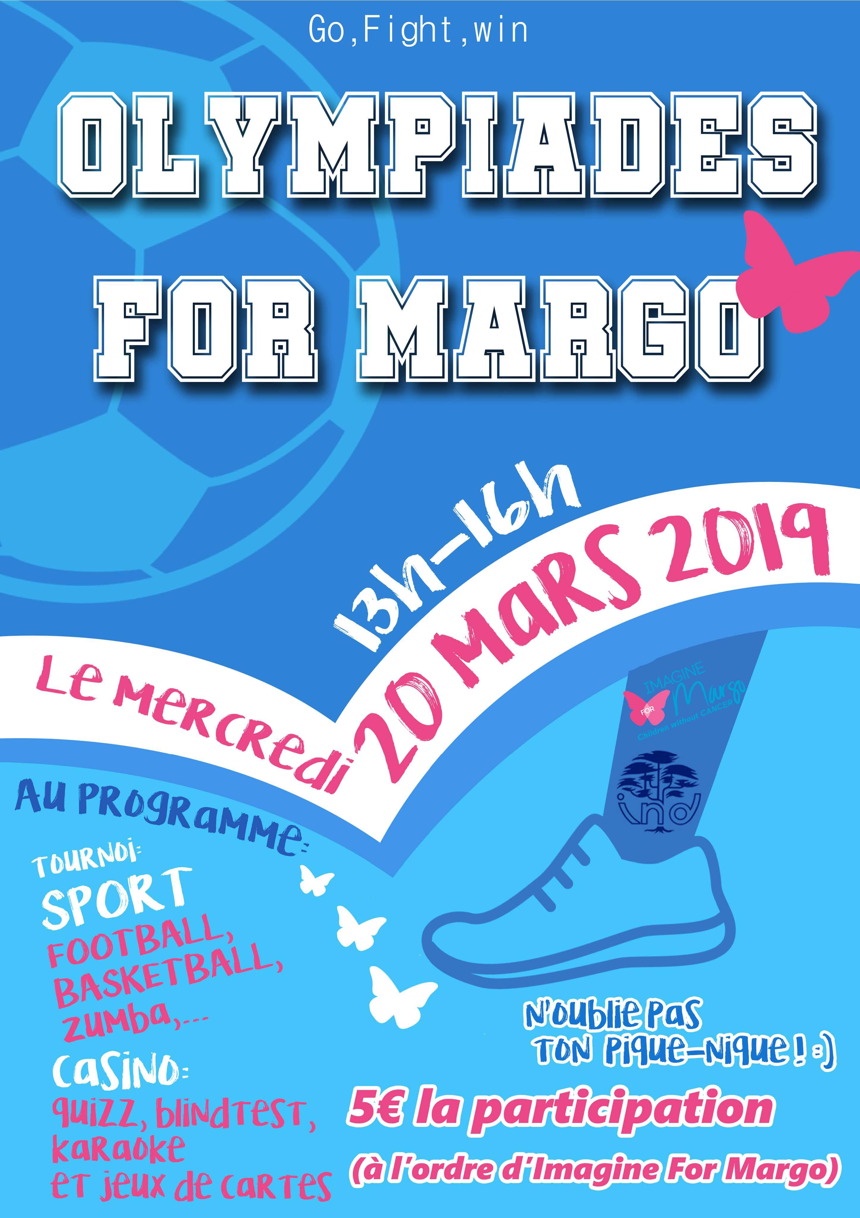 Les élèves de l'IND organisent les olympiades for Margo pour la 5e année au profit de notre association