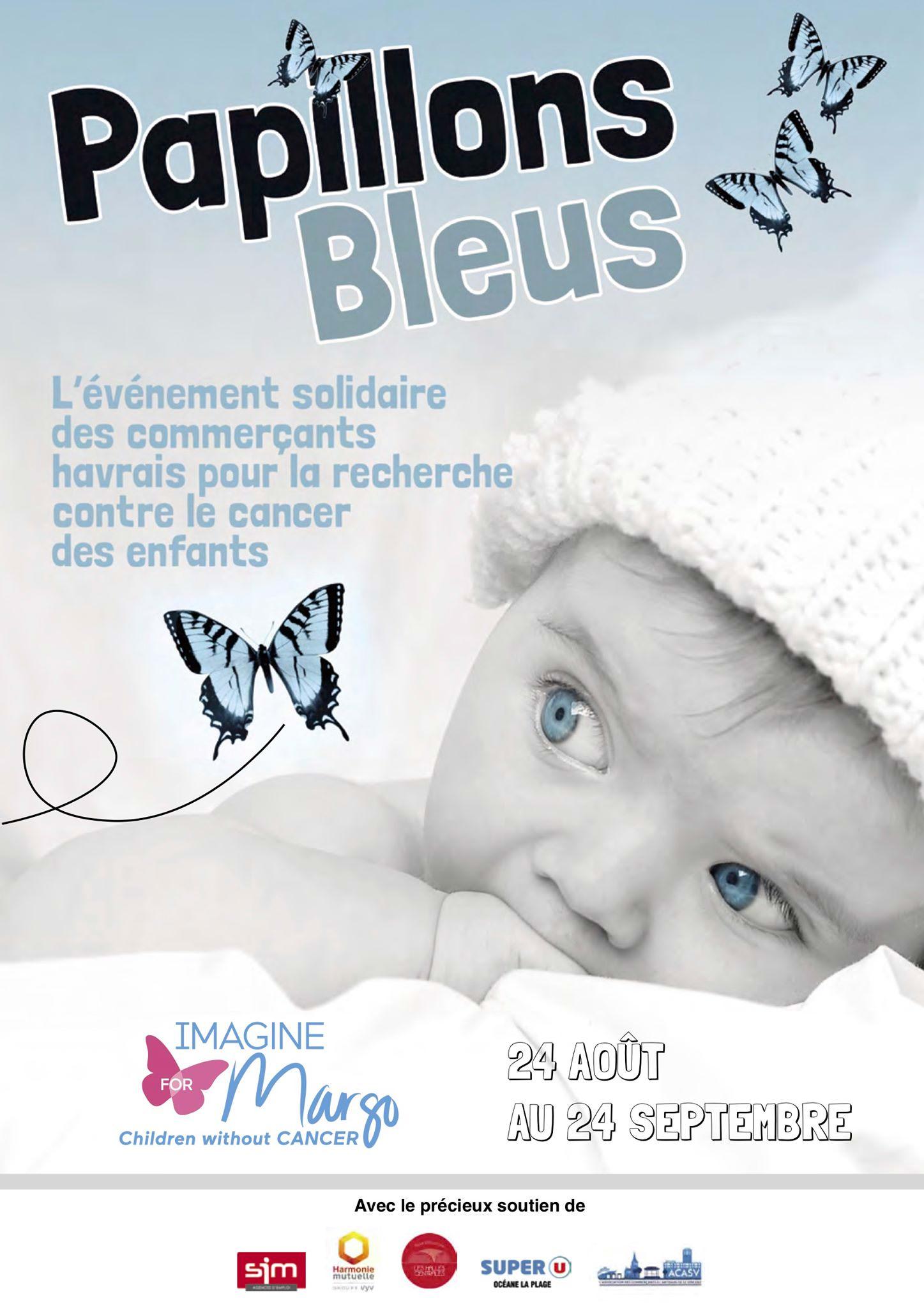 opération les papillons bleus au Havre pour la recherche contre le cancer des enfants