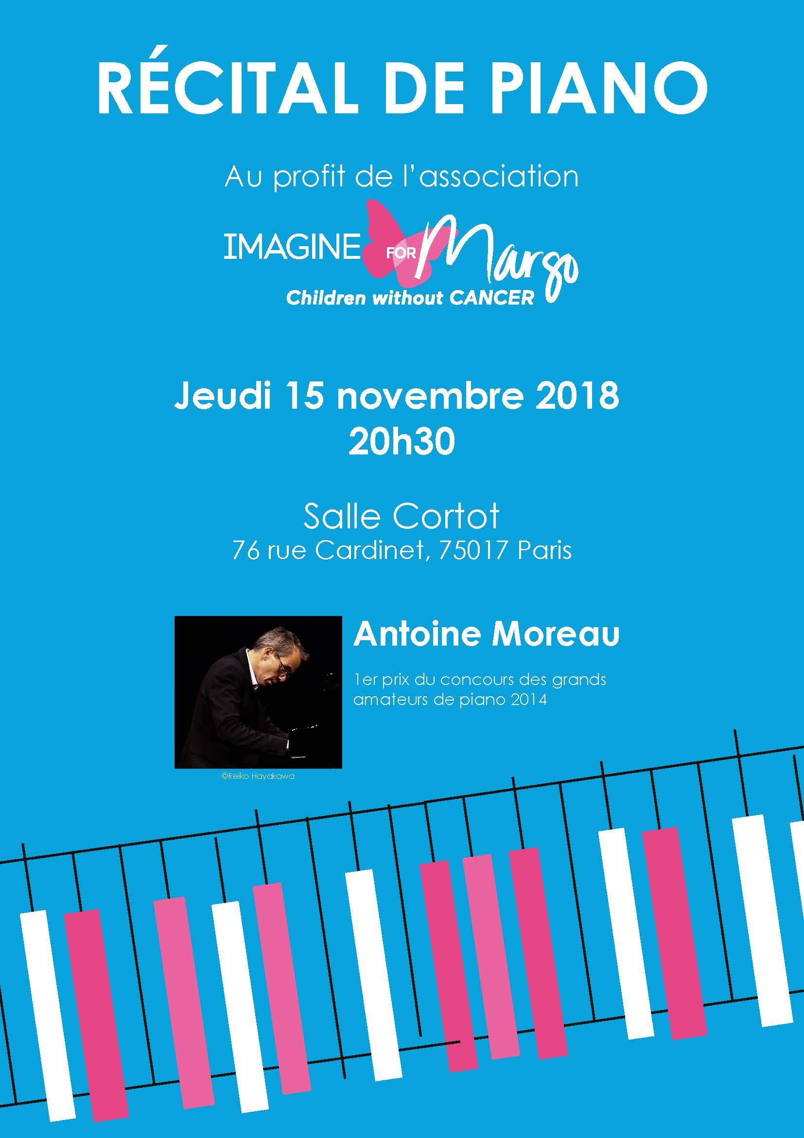Antoine Moreau donne un récital de piano pour la seconde fois en novembre en soutien à la cause du cancer des enfants
